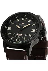 Happy Digital® 30m Waterproof Luxury Brand Army Date Leather Sports Watch Quartz Mens Wrist Watch