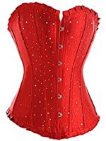 Corset Buy Rhinestone Red Polyester Overbust Fashion Corset With Rhinestones
