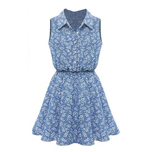 Aokdis Summer Fashion Women Lady Lapel Sleeveless Casual Slim Denim Dress (S)