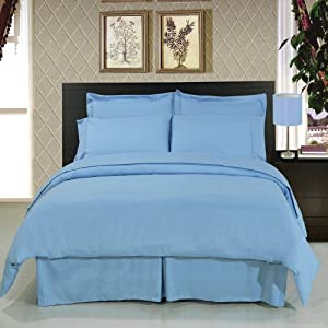 solid light blue 300 thread count king 8pc. Black Bedroom Furniture Sets. Home Design Ideas