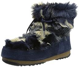 Tecnica Women\'s Moon We Low Fur Winter Fashion Boot, Blue, 39 EU/8 M US