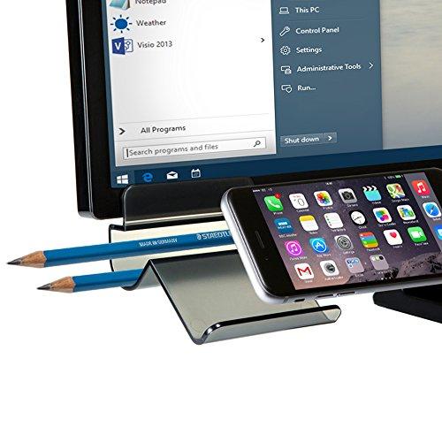 Smartphone Stand for Monitor, SINJIMORU Monitor Organizer and Desktop Organizer. Stick-on iPhone Stand with Pen Holder. Clingy Stand 3 for Monitor. Black (Lg Monitor 20 Inch compare prices)