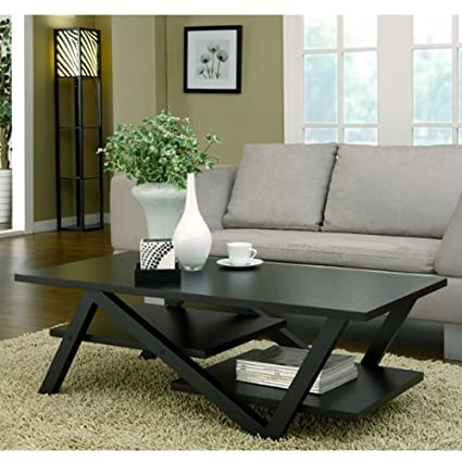 Waterbury Contemporary Design Black Finish Coffee Table