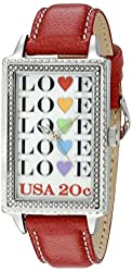 """The P.S. Collection by Arjang and Co. Women's PS-4004S-RD """"Love Repeat"""" Enamel Over Mother of Pearl Dial Red Leather Strap Watch"""