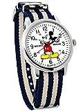 Disney ディズニー NATOタイプストラップ 腕時計 ストライプ NATOタイプ ベルト スワロフスキー ミリタリー系 ウォッチ 紺 ネイビー アイボリー [並行輸入品]