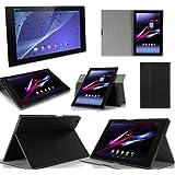 Sony Xperia Z2 Tablet - Housse protection UltimKaz Cuir Style noire (Wifi/3G/LTE/4G) - Etui coque noir XEPTIO tablette tactile Sony Xperia Z2 Tablet 10.1 pouces noire - Accessoires pochette cover XEPTIO case