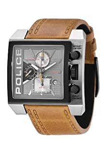 Police Mens Watch Nitro with Tan Strap and Grey Dial