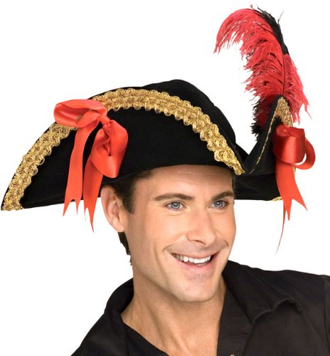 Mens Adult Halloween Costume Hats Black Velvet Gold Trim Pirate Buccanneer  Swashbuckler Theme Party Hat Review a0264ae9f6e6