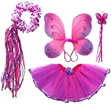 Girls Fairy Costume with Wings, Tutu, Wand & Halo Fits Age 2-7 Pink and Purple