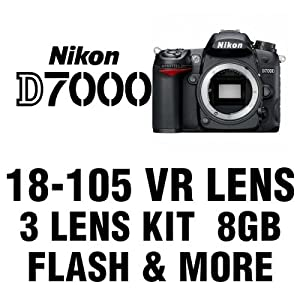 Nikon D7000 Digital SLR Camera 3 Lens Kit with 18-105mm VR, 58mm Wide Angle, 58mm 2X Telephoto, 8 GB and More