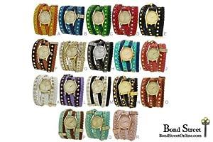 Wholesale Lot of 6 PCS Geneva Designer Inspired Leather Wrap Watch - 9618
