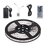 Homour Multicolor 5M 16.4FT Waterproof SMD 5050 Flexible RGB LED Strip Lights 300 leds Light Strip Kit with 12V 5A Power Supply