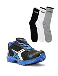 Elligator Black & Blue Stylish Sport Shoes With Puma Socks For Men's