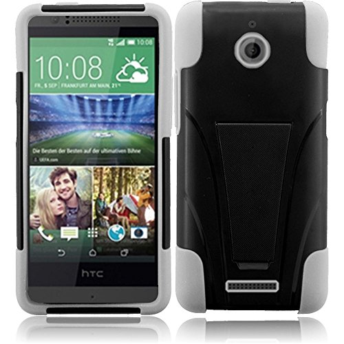 Htc Desire 510 - Black And White Dual Layer Impact Defender Shockproof Armor Kickstand Cover Case + Atom Led Keychain Light
