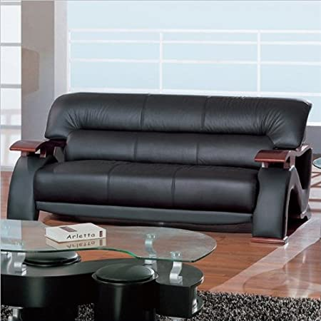 Contemporary Sofa in Black Finish