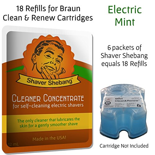 18 Refills For Braun Clean & Renew Cartridges - Electric Mint - Cleaner Solution For All Braun Self Cleaning Razors