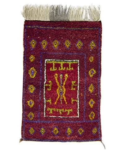 BNomadic C. 1950 Authentic Tulu One-of-a-Kind Rug, Red, 3′ 1″ x 4′ 7″