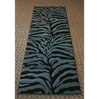 Carved Blue Zebra Runner Rug 31 In. X 7 Ft. #245