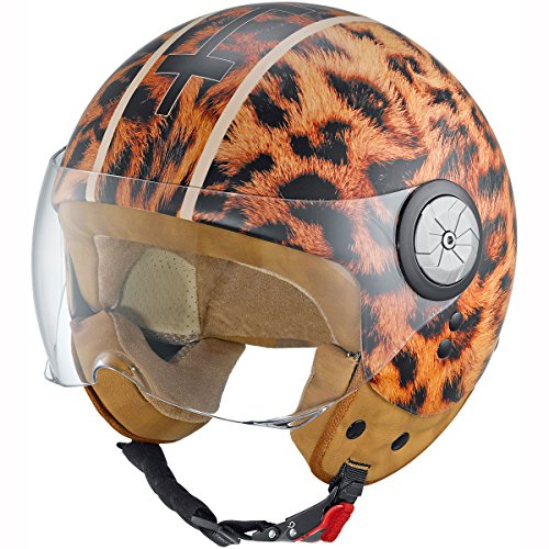 Motorcycle Held Helmet McCorry Leopard 7261 Tan XS UK