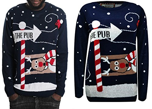 NEW Unisex New Kniktted Manica Lunga Natale Maglione di Natale Jumper NAVY-TO THE PUB XL