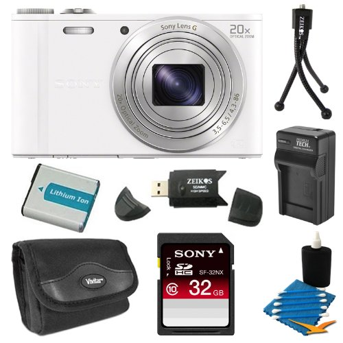Sony DSC-WX300/W DSC-WX300 WX300 WX300W WX300/W DSCWX300W 18 MP Digital Camera with 20x Optical Image Stabilized Zoom and 3-Inch LCD (White) 32GB Bundle with 32GB SDHC Card, Spare Battery, Rapid External Charger, Case, SD Card Reader + More Reviews