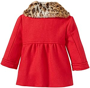 kate spade york Baby Girls' Faux Fur Collar Coat-Fairytale Red