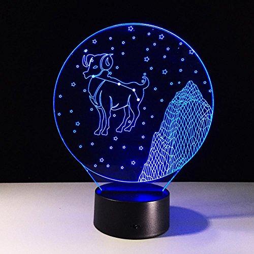 XIAOWEI Luci ottiche acrilici colorati di Ariete toccare LDE Stereo 3D luci lampada lampade