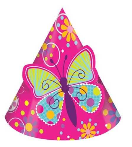 Creative Converting Butterfly Sparkle Birthday Party Hats, 8-Count