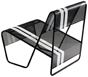 Markamoderna LAMI Perforated Sheet Metal Lounge Chair, Black with White Racing Stripes