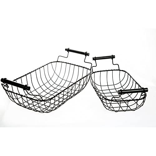 Set of Two Vintage Metal Wire Rectangular Baskets with Handles