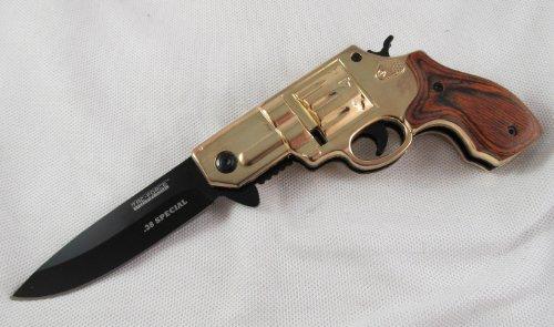Spring Assisted .38 Special Gold Gun Folder Pocket Knife