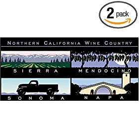 Pomegranate Northern California Wine Country: Illustrations by Michael Schwab Panoramic Boxed Note Cards (Pack of 2): Office Products