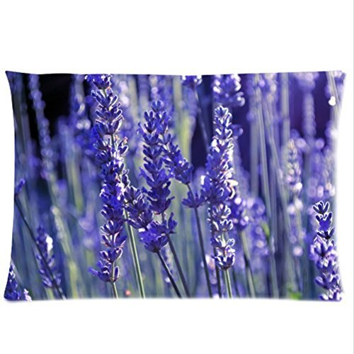 Personalized Beautiful Purple Lavender Art Zippered Pillowcases 20X30 Inches (Twin Sides )