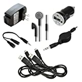 7 pc Fenzer Black Bundle Kit for Samsung i9190 i9192 Galaxy S4 Mini Cell Phone Travel Car Wall Charger USB Data Cable