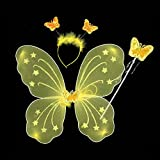 Infinxt Fairy Butterfly Wings Costume For Baby Girl Angel Birthday Party Yellow