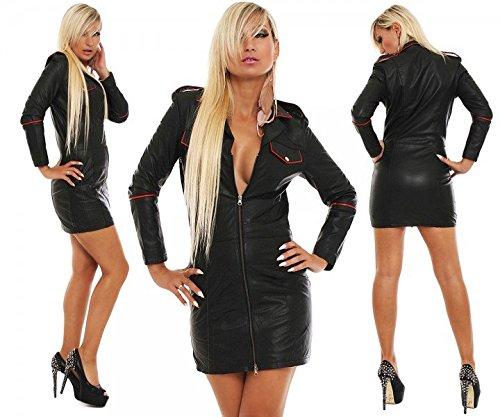 FWT Fashionworld-Trade Lederkleid echt Leder Kleid Uniform Rindsleder Lederuniform schwarz alle Größen, Konfektionsgröße Damen:XXL 52/54