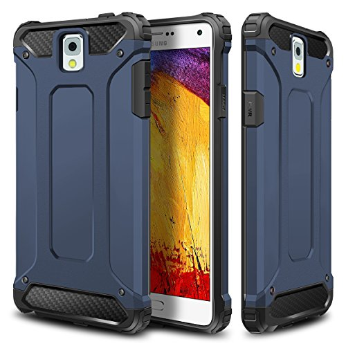 Galaxy Note 3 Case,Wollony Rugged Hybrid Dual Layer Hard Shell Armor Protective Back Case Shockproof Cover for Galaxy Note 3 Case - Slim Fit - Heavy Duty - Impact Resistant Bumper(Deep Blue) (Bumper Galaxy Note 3 compare prices)