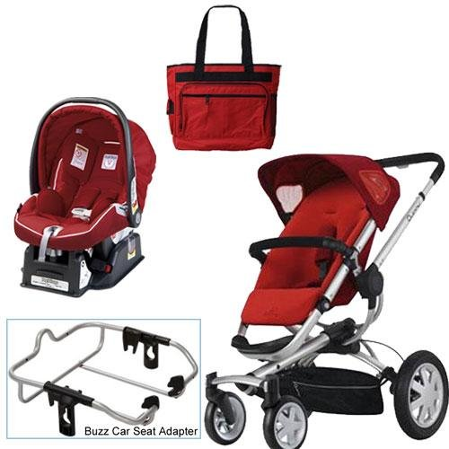 Quinny Rebel Red Buzz 4 Travel System with Peg Perego Geranium Red Car Seat Diaper Bag