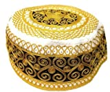 Mens African design gold embroidered cap toki topi kufi