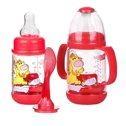 Nuby Bpa Free Infant Feeder Feeding Bottle Set, Red