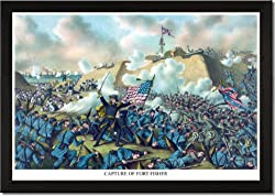 Framed Art Poster 20x30, Storming of Ft. Fisher, North Carolina
