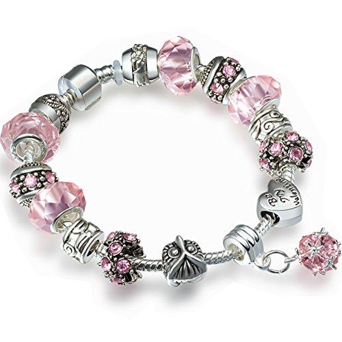 A TE® Bracciale Charms Beads Cristalli rosa chiaro/sora/viola Regalo Donna Ragazza SKU:JW-B12