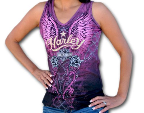 Harley-Davidson® Womens Heavenly Heritage V-Neck Black Sleeveless Tank (Medium)