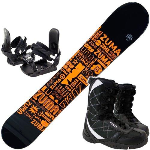 スノーボード ZUMA(ツマ) TYPOS オレンジ 金具・ブーツ付き3点セット (スノーボード153cm, ブーツ26cm)