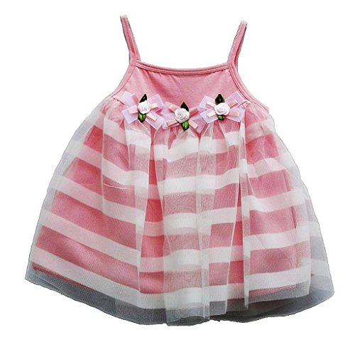 TheTickleToe Kids Baby Infants New Borns Girls Cotton Net Causal Party Dress Summer Spagetti Strap Pink 18-24 Months