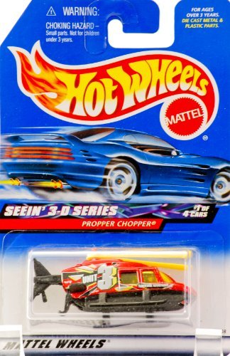 2000 - Mattel - Hot Wheels - Seein' 3-D Series #1 of 4 - Propper Chopper (Red & Black) Yellow Blades - Collector #009 - Unit 3 : Trackside Assistance Graphics - Yellow Tinted Windows - New - Out of Production - Rare - Limited Edition - Collectible