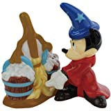 Westland Giftware Fantasia Mickey with Broom Magnetic Ceramic Salt and Pepper Shaker Set, 4-Inch