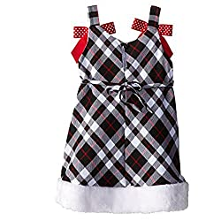 Youngland Girls 'Dress with Fur Trim and Dog Long Sleeve Shirt Black/White/Red 3-4Years from Youngland