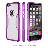 iPhone 6 Case, Purple - With Tempered Glass Screen Protector - Slim - by Sahara Case