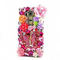 LG K10 Case, Sense-TE Luxurious Crystal 3D Handmade Sparkle Diamond Rhinestone Clear Cover with Retro Bowknot Anti Dust Plug - Butterfly Big Rose Flowers / Colorful